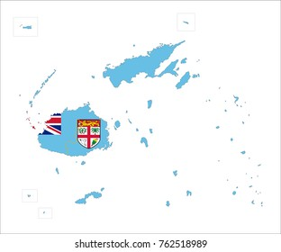 Map Of Fiji With Flag Isolated On White Background.