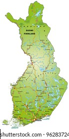 Map of Finland with freeways