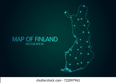 Map of Finland - With glowing point and lines scales on the dark gradient background, 3D mesh polygonal network connections.Vector illustration eps 10.