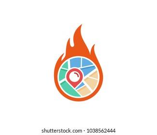 Map Fire Icon Logo Design Element