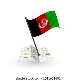 Map with flag of Afghanistan isolated on white. National flag for country of Afghanistan isolated, banner for your web site design logo, app, UI. check in. map Vector illustration, EPS10.