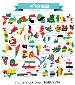 Map. Flag of Africa. vector Illustration.