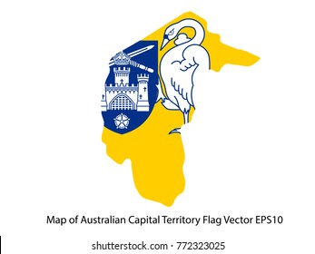 Map and flag Australian Capital Territory of Vector EPS10