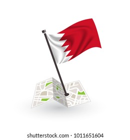 Map with flag of Bahrain isolated on white. National flag for country of Bahrain isolated, banner for your web site design logo, app, UI. check in. map Vector illustration, EPS10.
