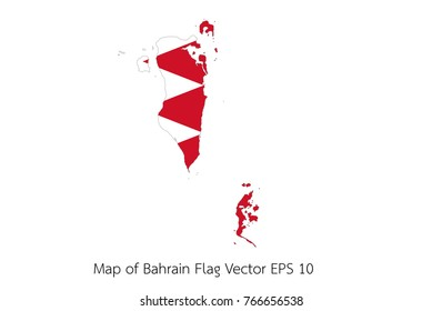 Map and flag Bahrain of Vector EPS10