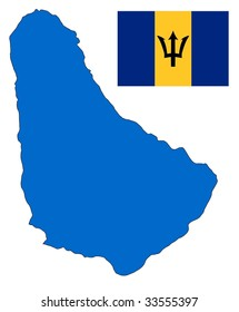 map and flag of Barbados