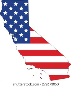 Map and flag of California