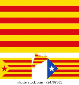 Map and flag of Catalonia. Blue estelada. Socialist Independentist red estelada.  Vector illustration