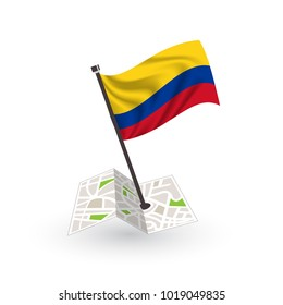 Map with flag of Colombian isolated on white. National flag for country of Colombian isolated, banner for your web site design logo, app, UI. check in. map Vector illustration, EPS10.