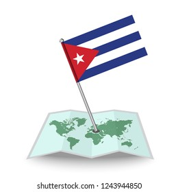 Map with flag of Cuba isolated on white. National flag for country of Cuba isolated, banner for your web site design logo, app, UI. check in. map Vector illustration, EPS10.