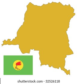 map and flag of Democratic Republic of Congo or Zaire