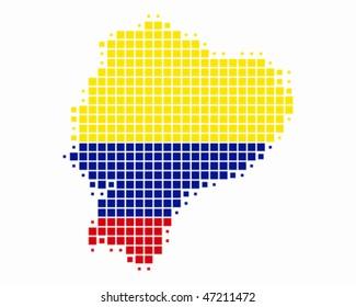 Map and flag of Ecuador
