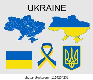 Map, flag and emblem of Ukraine