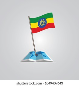 Map with flag of Ethiopia isolated on white. National flag for country of Ethiopia isolated, banner for your web site design logo, app, UI. check in. map Vector illustration, EPS10.