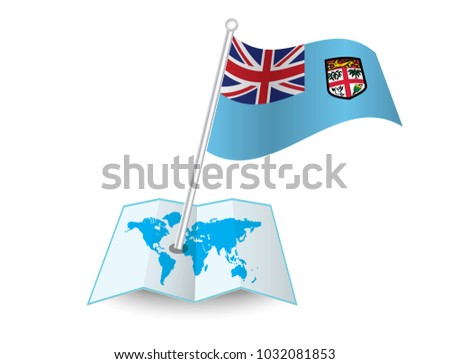 Map Flag Fiji Isolated On White Stock Vector (Royalty Free