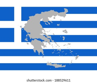 Map and flag of Greece