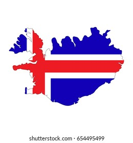 Map and flag of Iceland on a white background