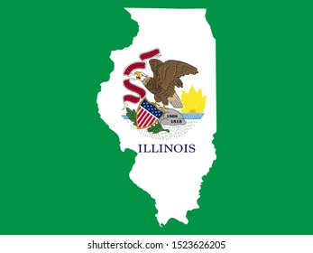 Map Flag of Illinois state of USA. Vector illustration