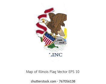 Map and flag Illinois of Vector EPS10