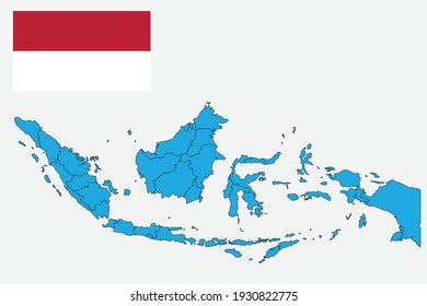 Map and flag of Indonesia