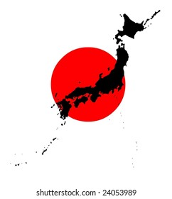 Map and flag of Japan in vector art