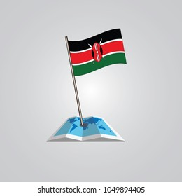 Map with flag of kenya isolated on white. National flag for country of kenya isolated, banner for your web site design logo, app, UI. check in. map Vector illustration, EPS10.