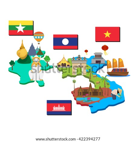 Map Flag Laos Cambodia Myanmar Vietnam Stock Vector Royalty Free