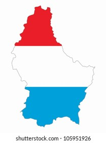 Map and flag of Luxembourg