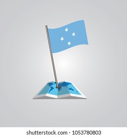 Map with flag of Micronesia isolated on white. National flag for country of Micronesia isolated, banner for your web site design logo, app, UI. check in. map Vector illustration, EPS10.