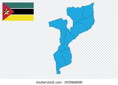 Map and flag of Mozambique