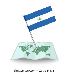 Map with flag of Nicaragua isolated on white. National flag for country of Nicaragua isolated, banner for your web site design logo, app, UI. check in. map Vector illustration, EPS10.
