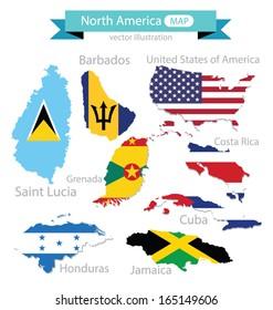 Map. Flag of North america.  vector Illustration.