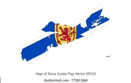 Map and flag Nova Scotia of Vector EPS10