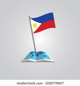 Map with flag of  Philippine isolated on white. National flag for country of  Philippine isolated, banner for your web site design logo, app, UI. check in. map Vector illustration, EPS10.