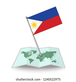 Map with flag of Philippines isolated on white.