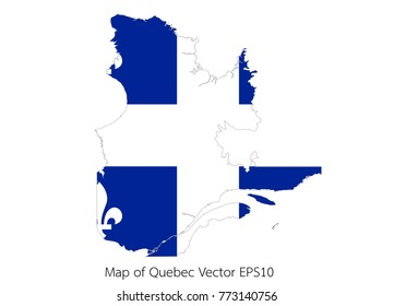 Map and flag Quebec of Vector EPS10
