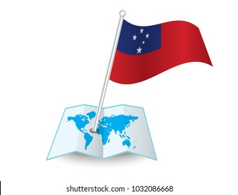 Map with flag of Samoa isolated on white.  National flag for country of Samoa isolated,  banner for your web site design logo, app, UI.check in. map Vector illustration, EPS10.