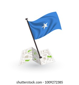 Map with flag of Somalia isolated on white. National flag for country of Somalia isolated, banner for your web site design logo, app, UI. check in. map Vector illustration, EPS10.