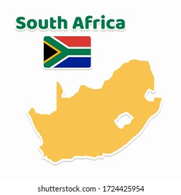the map and the flag South Africa vector graphic