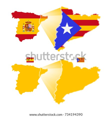 Spain Map Flag.Map Flag Spain Map Flag Catalonia Stock Vector Royalty Free