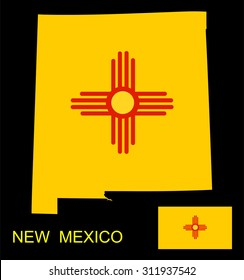 Map and flag of the State of New Mexico vector illustration isolated on black background.
