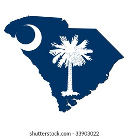 Map and flag of the State of South Carolina