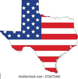 Map and flag of Texas