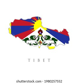 map with flag of tibet vector. Tibetan territory. Flag of Tibet also know as the snow lion flag. national flag vector illustration. Creative and minimal illustration. Scratches and ripped.