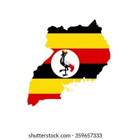 Map and flag of Uganda