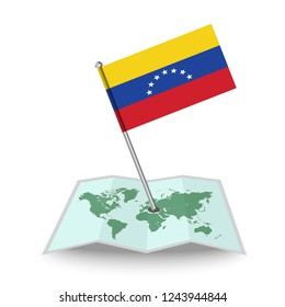 Map with flag of Venezuela isolated on white. National flag for country of Venezuela isolated, banner for your web site design logo, app, UI. check in. map Vector illustration, EPS10.