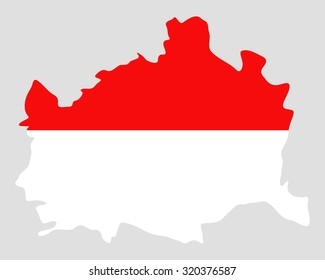 Map and flag of Vienna