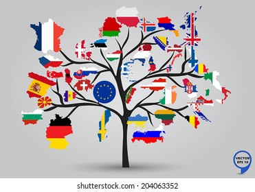 Map flags of europe in tree design. Vector illustration.