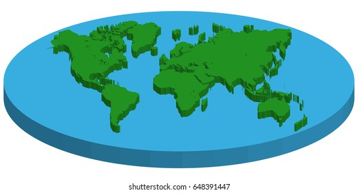 Map of flat 3d earth, vector concept FLAT EARTH