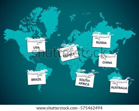 Map Flights Selected United States USA Stock Vector (Royalty Free ...